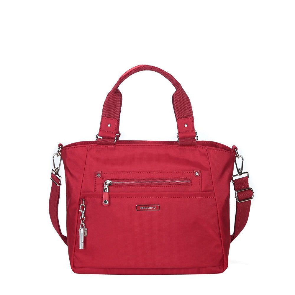 Satchel Handbag - Bellamy Leather Trimmed Multi Function Satchel Handbag With Whistle Dangle Front [Jester Red]
