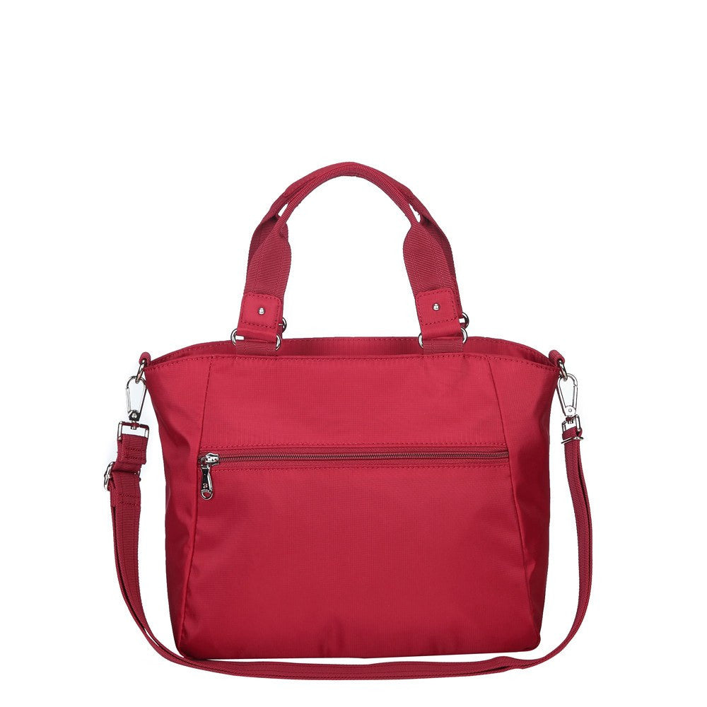 Satchel Handbag - Bellamy Leather Trimmed Multi Function Satchel Handbag With Whistle Dangle Back [Jester Red]