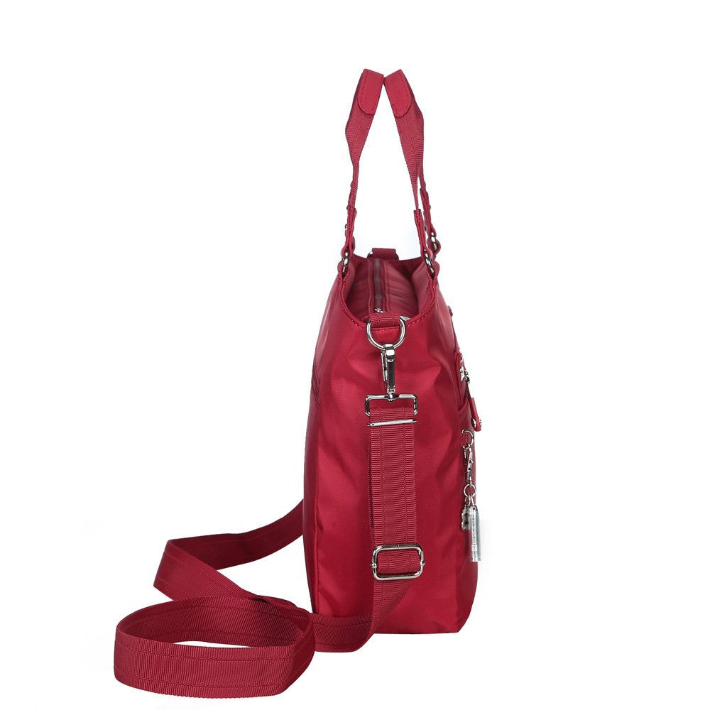 Satchel Handbag - Bellamy Leather Trimmed Multi Function Satchel Handbag With Whistle Dangle Side [Jester Red]