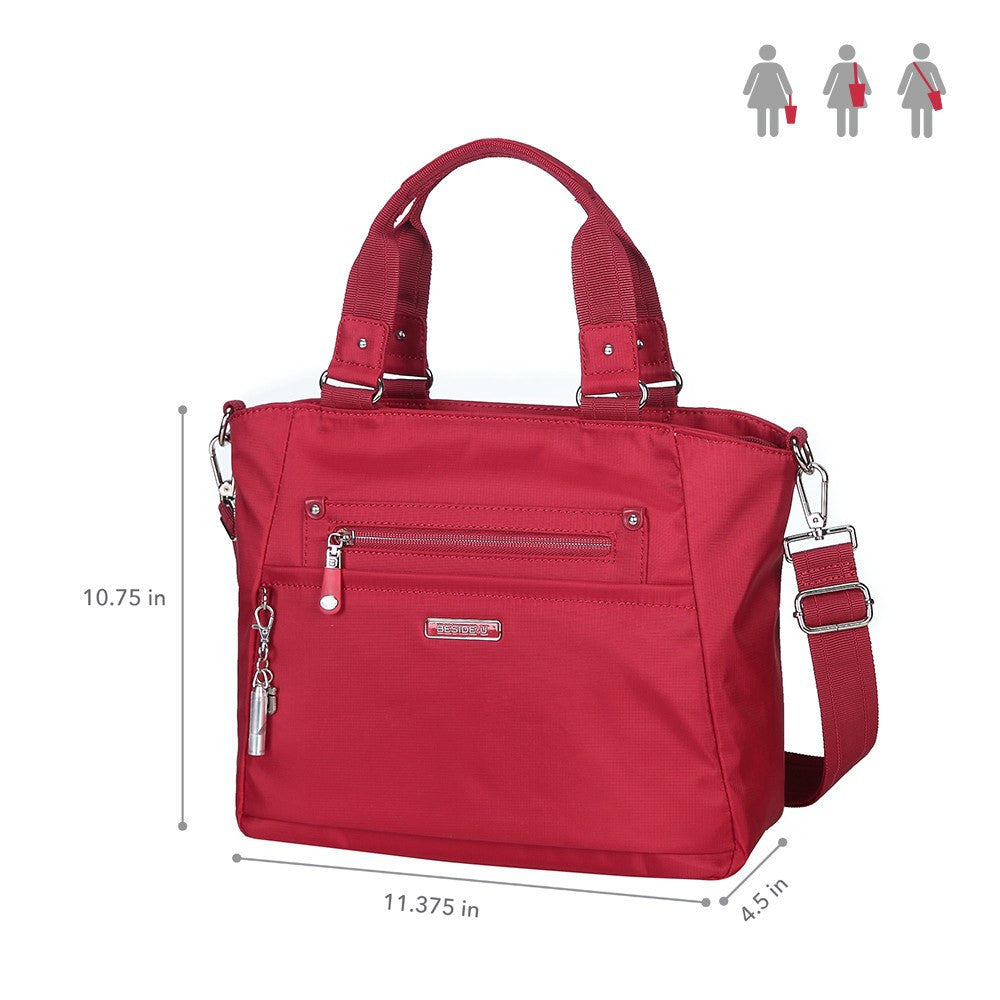 Satchel Handbag - Bellamy Leather Trimmed Multi Function Satchel Handbag With Whistle Dangle Size [Jester Red]