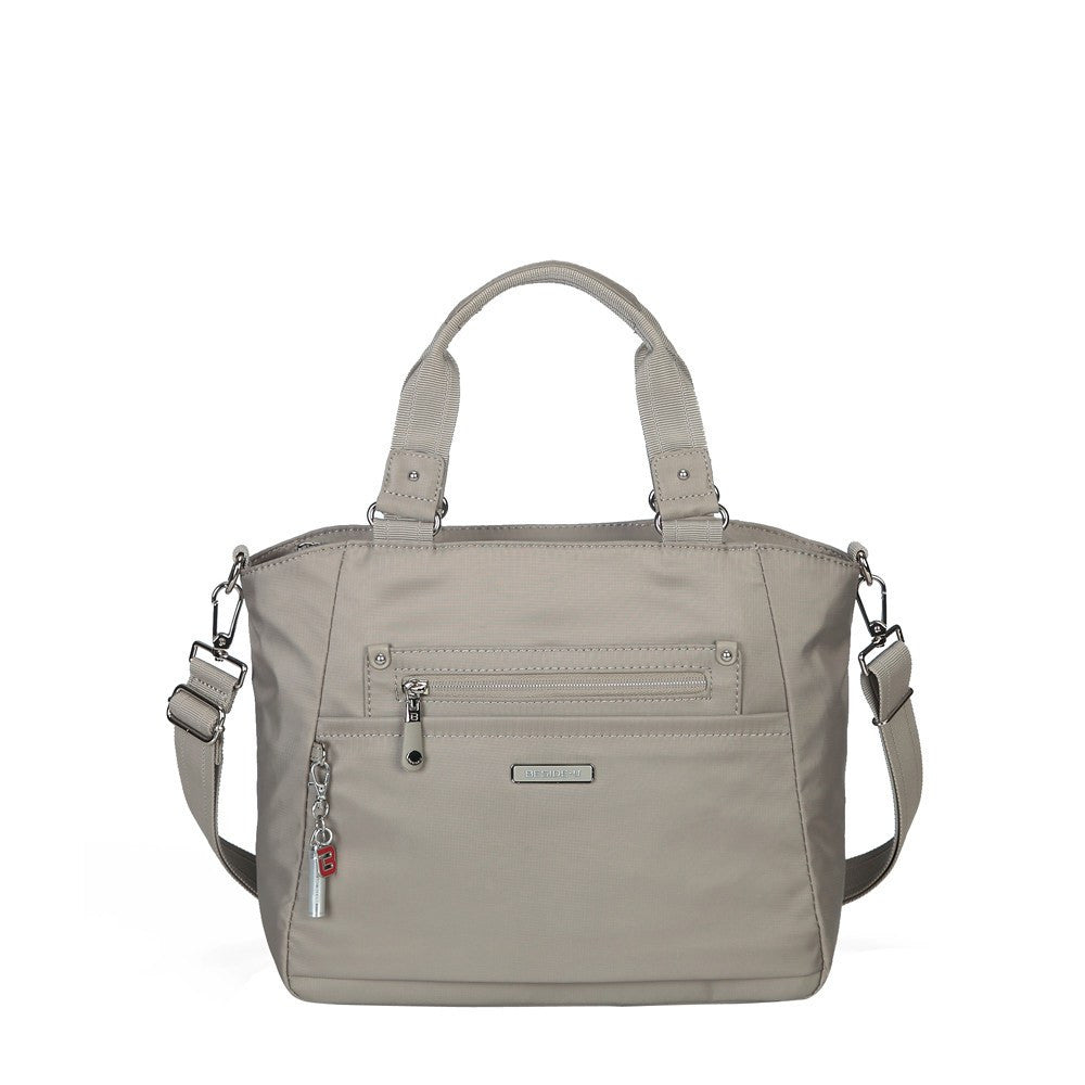 Satchel Handbag - Bellamy Leather Trimmed Multi Function Satchel Handbag With Whistle Dangle Front [Moon Grey]
