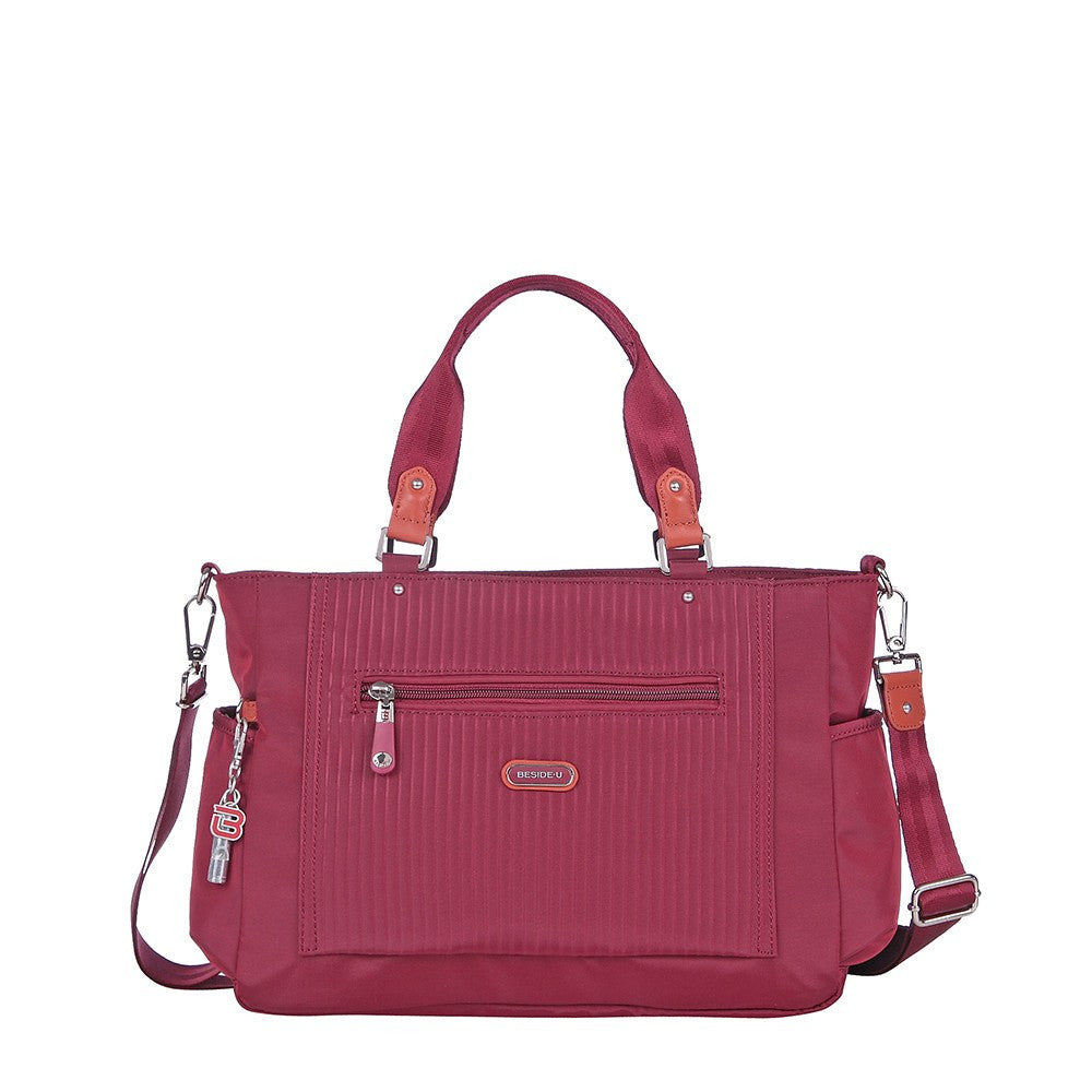 Satchel Handbag - Bethany Leather Trimmed Wide Satchel Handbag Front [Tawny Port]