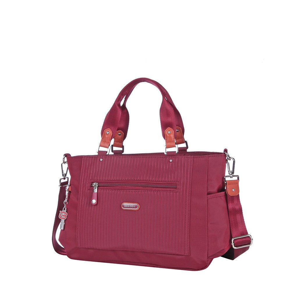 Satchel Handbag - Bethany Leather Trimmed Wide Satchel Handbag Angled [Tawny Port]