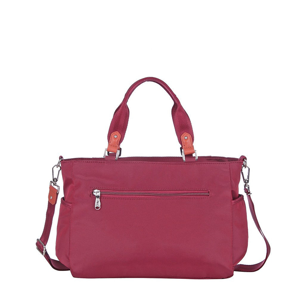 Satchel Handbag - Bethany Leather Trimmed Wide Satchel Handbag Back [Tawny Port]