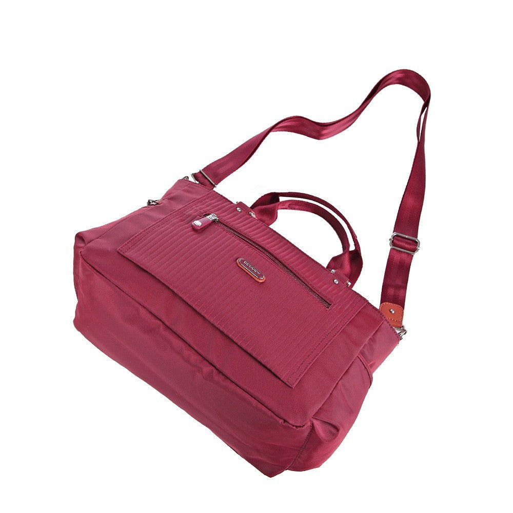 Satchel Handbag - Bethany Leather Trimmed Wide Satchel Handbag Lying Down [Tawny Port]