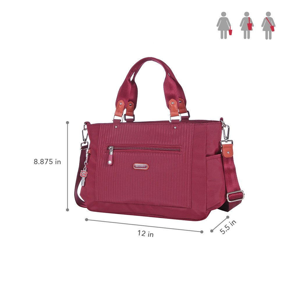 Satchel Handbag - Bethany Leather Trimmed Wide Satchel Handbag Size [Tawny Port]