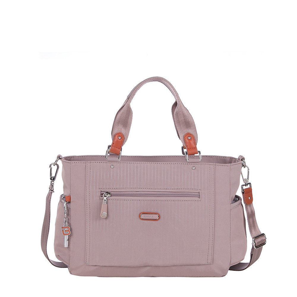 Satchel Handbag - Bethany Leather Trimmed Wide Satchel Handbag Front [Rose Dawn]
