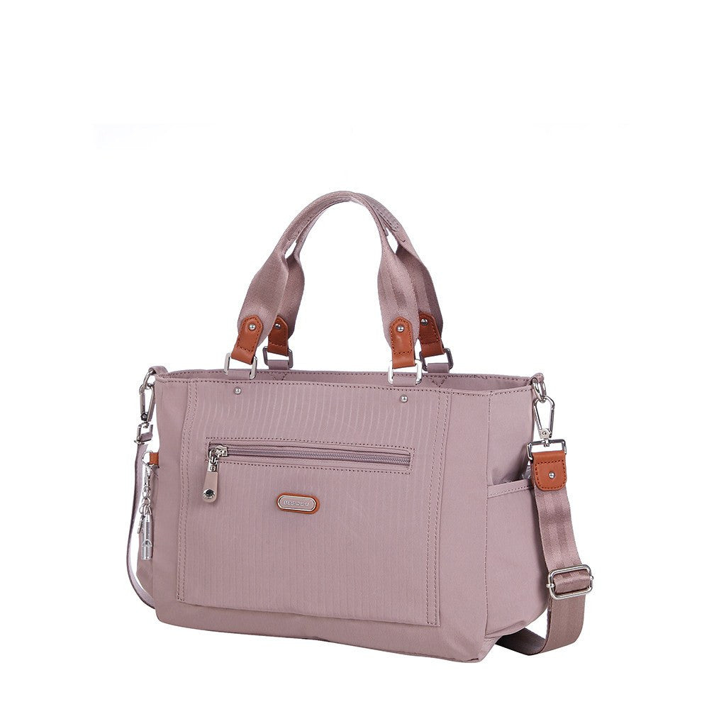 Satchel Handbag - Bethany Leather Trimmed Wide Satchel Handbag Angled [Rose Dawn]
