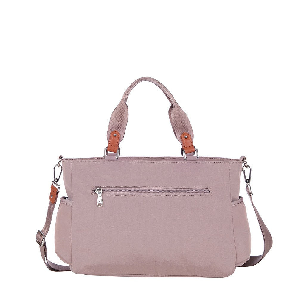 Satchel Handbag - Bethany Leather Trimmed Wide Satchel Handbag Back [Rose Dawn]