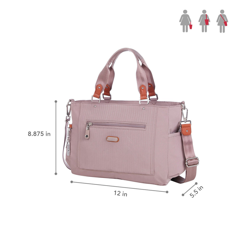 Satchel Handbag - Bethany Leather Trimmed Wide Satchel Handbag Size [Rose Dawn]