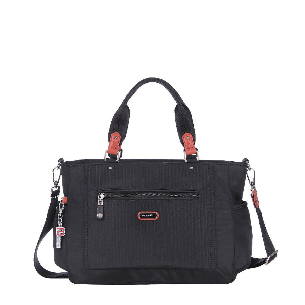 Satchel Handbag - Bethany Leather Trimmed Wide Satchel Handbag Front [Black]