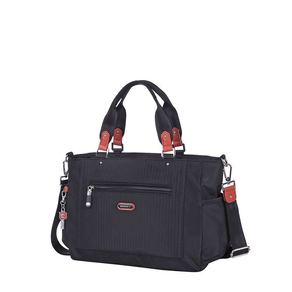Satchel Handbag - Bethany Leather Trimmed Wide Satchel Handbag Angled [Black]