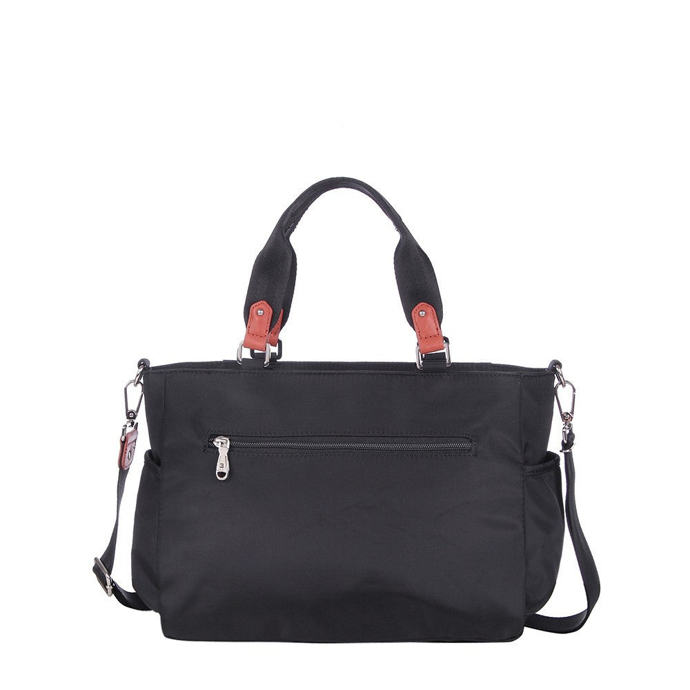 Satchel Handbag - Bethany Leather Trimmed Wide Satchel Handbag Back [Black]