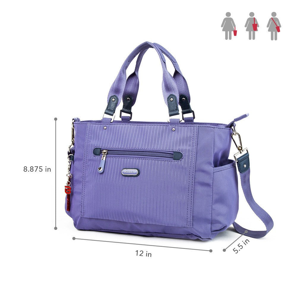 Satchel Handbag - Bethany Leather Trimmed Wide Satchel Handbag With Red Whistle Dangle Size [Purple Spruce]