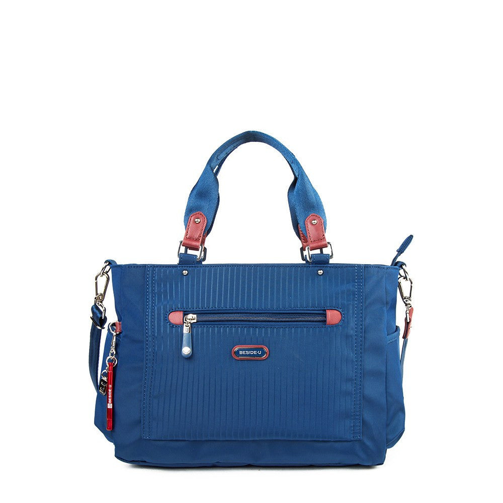 Satchel Handbag - Bethany Leather Trimmed Wide Satchel Handbag With Red Whistle Dangle Front [Blue Spruce]