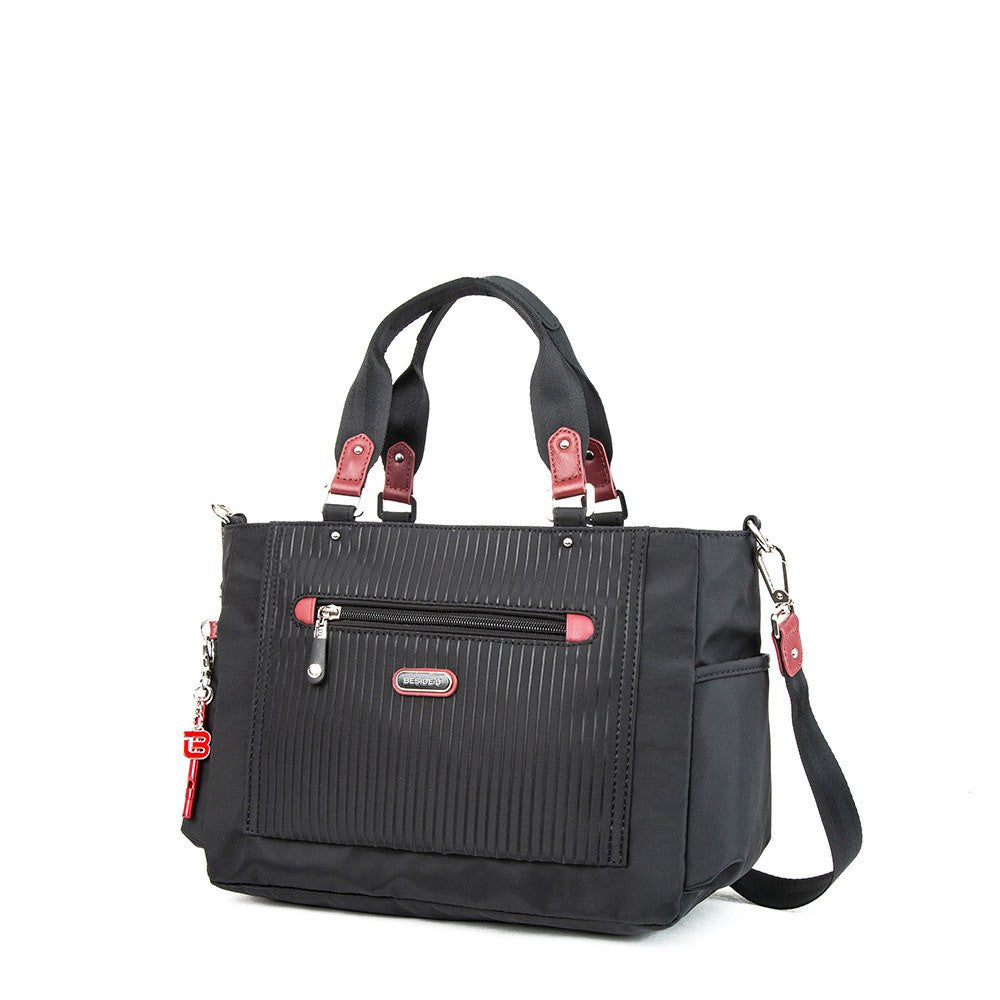 Satchel Handbag - Bethany Leather Trimmed Wide Satchel Handbag With Red Whistle Dangle Angled [Black And Brown Red]