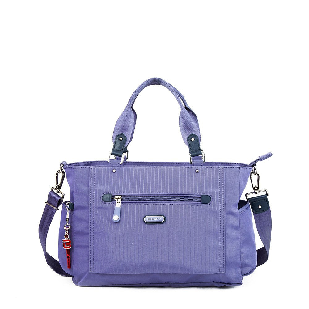 Satchel Handbag - Bethany Leather Trimmed Wide Satchel Handbag With Red Whistle Dangle Front [Purple Spruce]