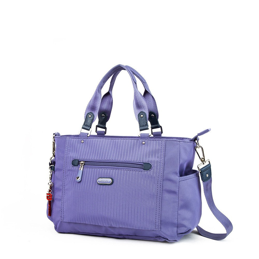 Satchel Handbag - Bethany Leather Trimmed Wide Satchel Handbag With Red Whistle Dangle Angled [Purple Spruce]