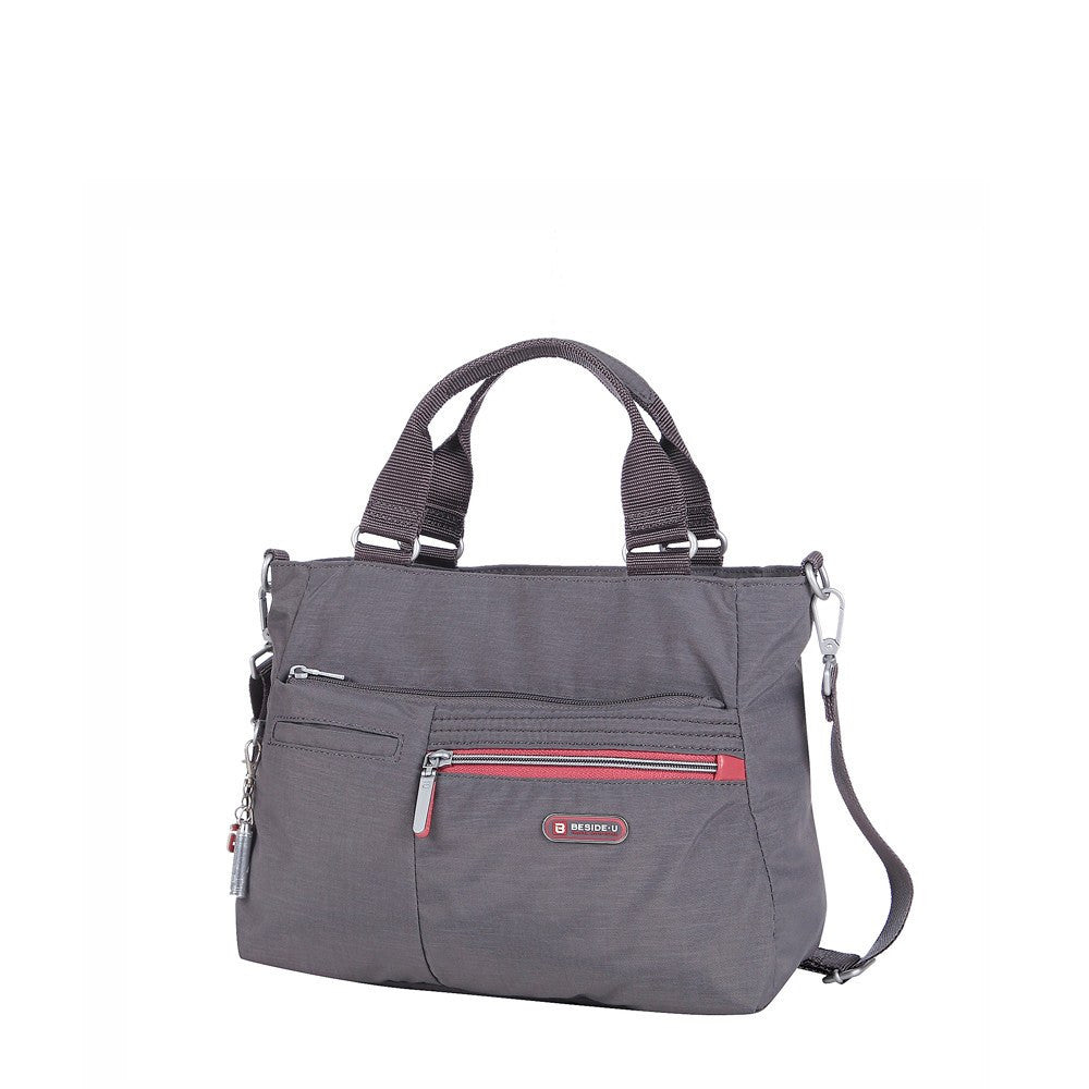 Satchel Handbag - Brussels Two-Tone Convertible Satchel Handbag Angled [Rabbit Grey]