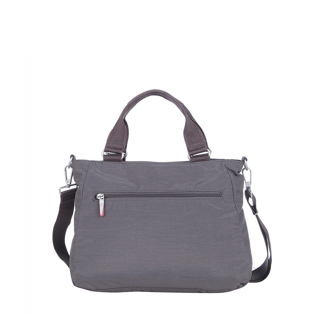 Satchel Handbag - Brussels Two-Tone Convertible Satchel Handbag Back [Rabbit Grey]