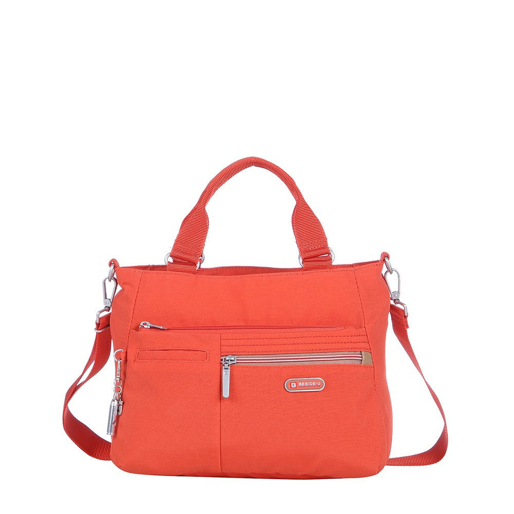 Satchel Handbag - Brussels Two-Tone Convertible Satchel Handbag Front [Sweet Orange]