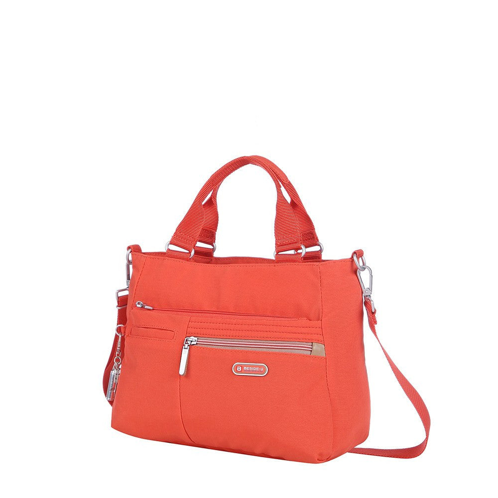 Satchel Handbag - Brussels Two-Tone Convertible Satchel Handbag Angled [Sweet Orange]