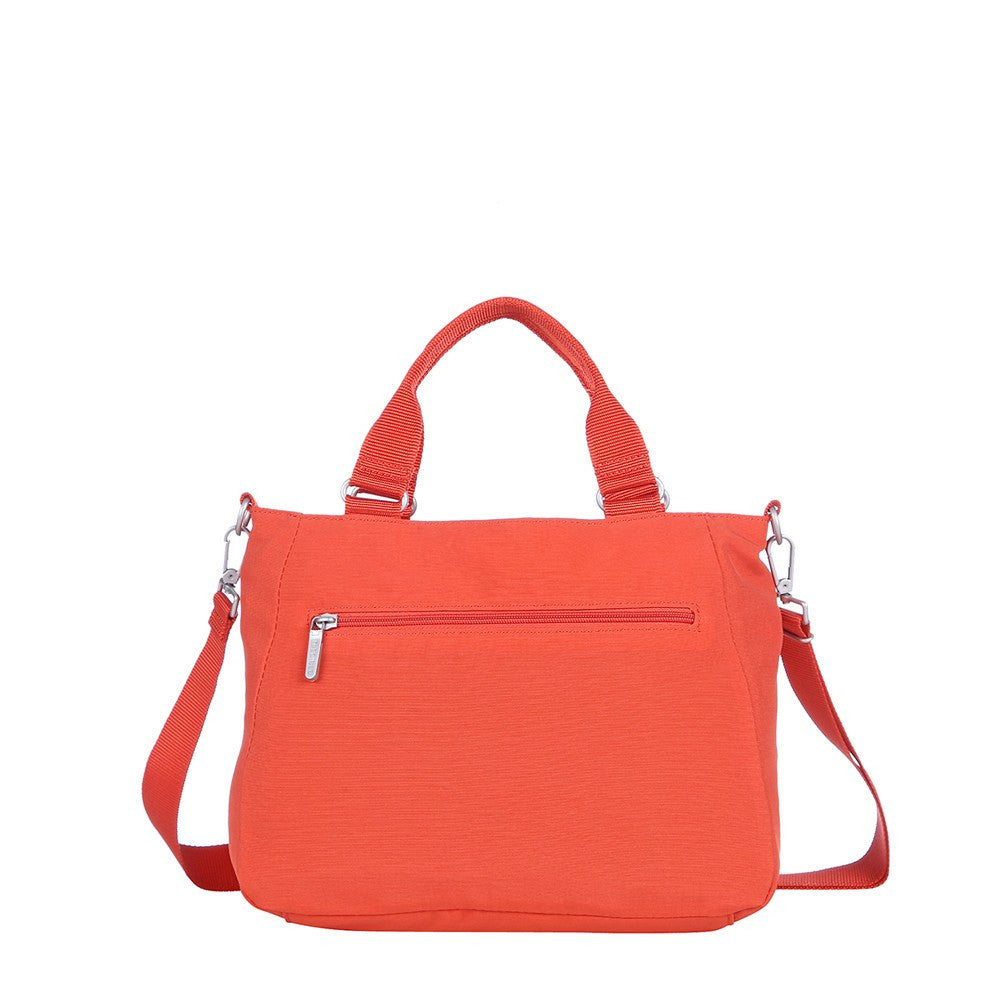Satchel Handbag - Brussels Two-Tone Convertible Satchel Handbag Back [Sweet Orange]