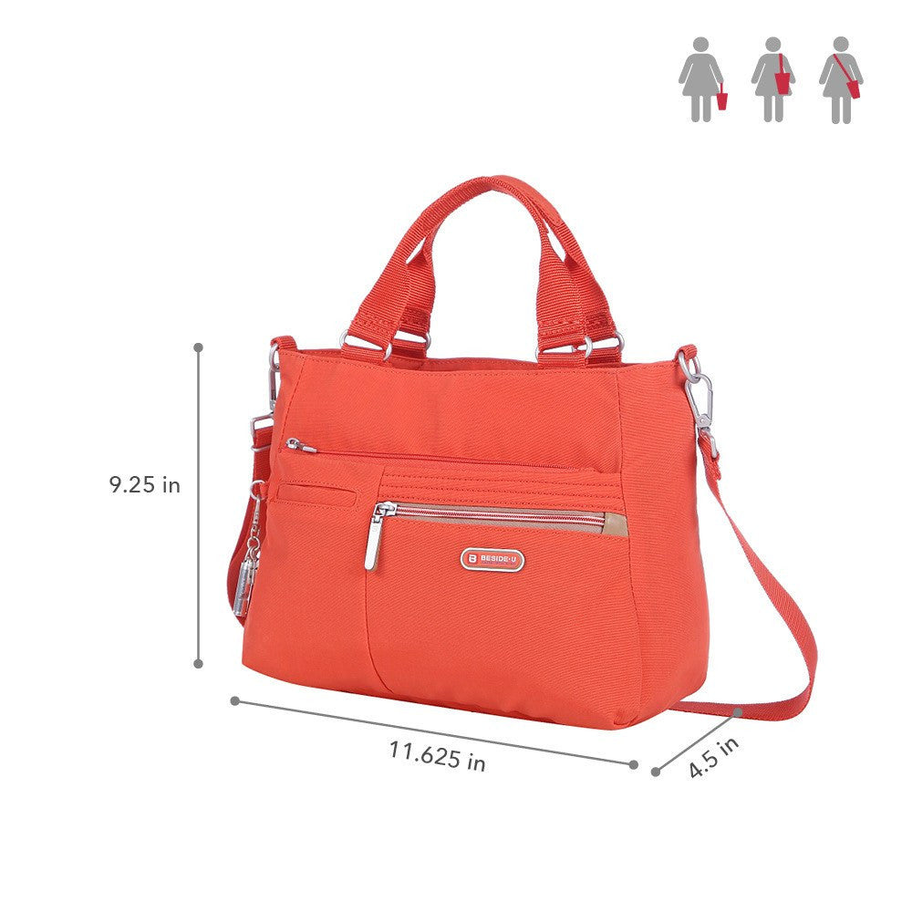 Satchel Handbag - Brussels Two-Tone Convertible Satchel Handbag Size [Sweet Orange]