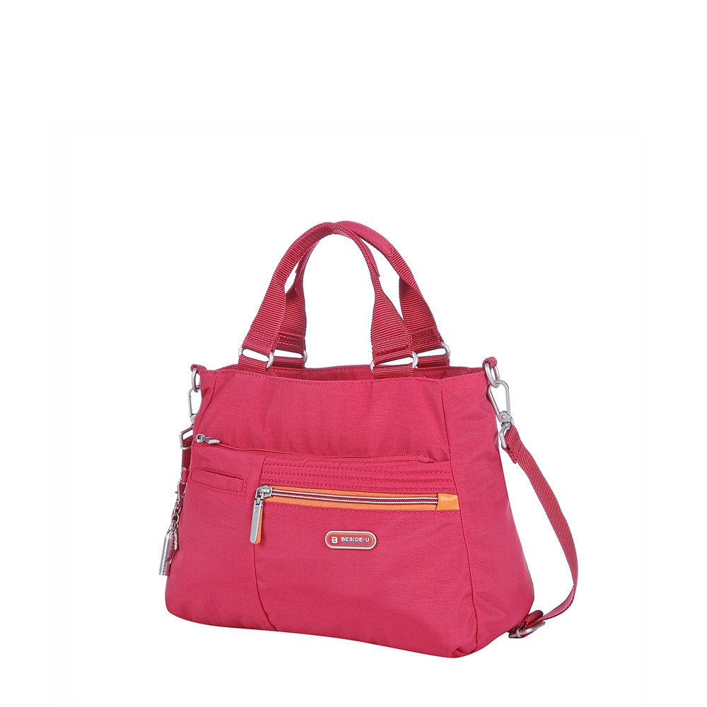 Satchel Handbag - Brussels Two-Tone Convertible Satchel Handbag Angled [Heart Red]