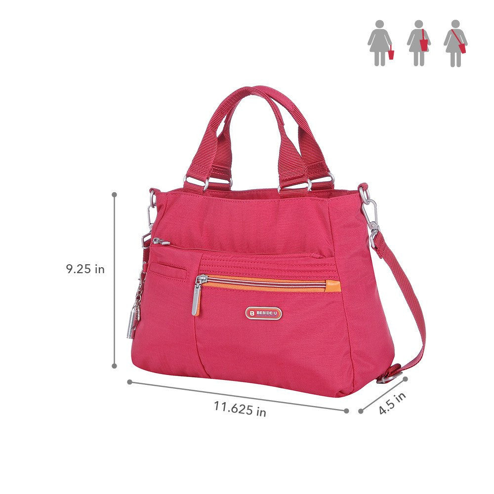 Satchel Handbag - Brussels Two-Tone Convertible Satchel Handbag Size [Heart Red]