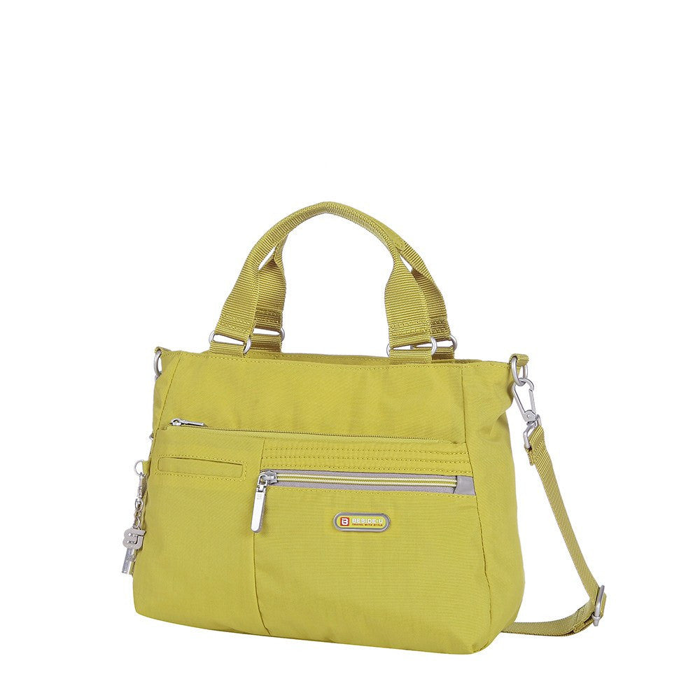 Satchel Handbag - Brussels Two-Tone Convertible Satchel Handbag Angled [Citronelle Green]