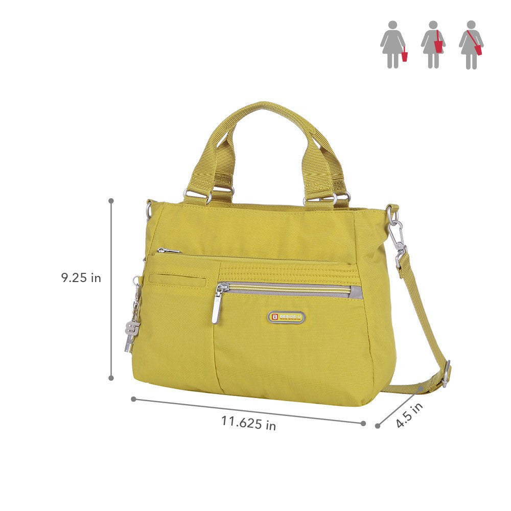 Satchel Handbag - Brussels Two-Tone Convertible Satchel Handbag Size [Citronelle Green]