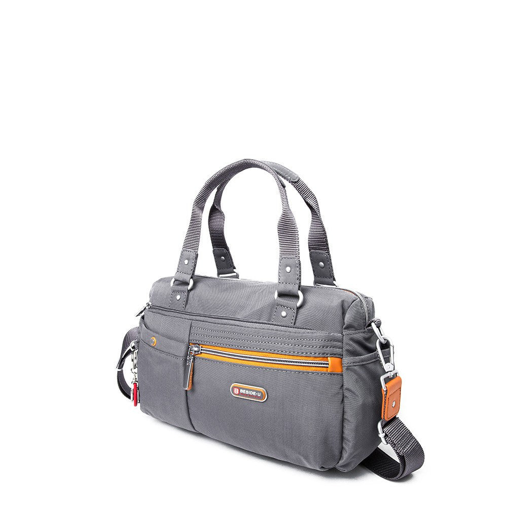 Satchel Handbag - Dijon Two-Tone Small Convertible Satchel Handbag Angled [Castlerock Grey]