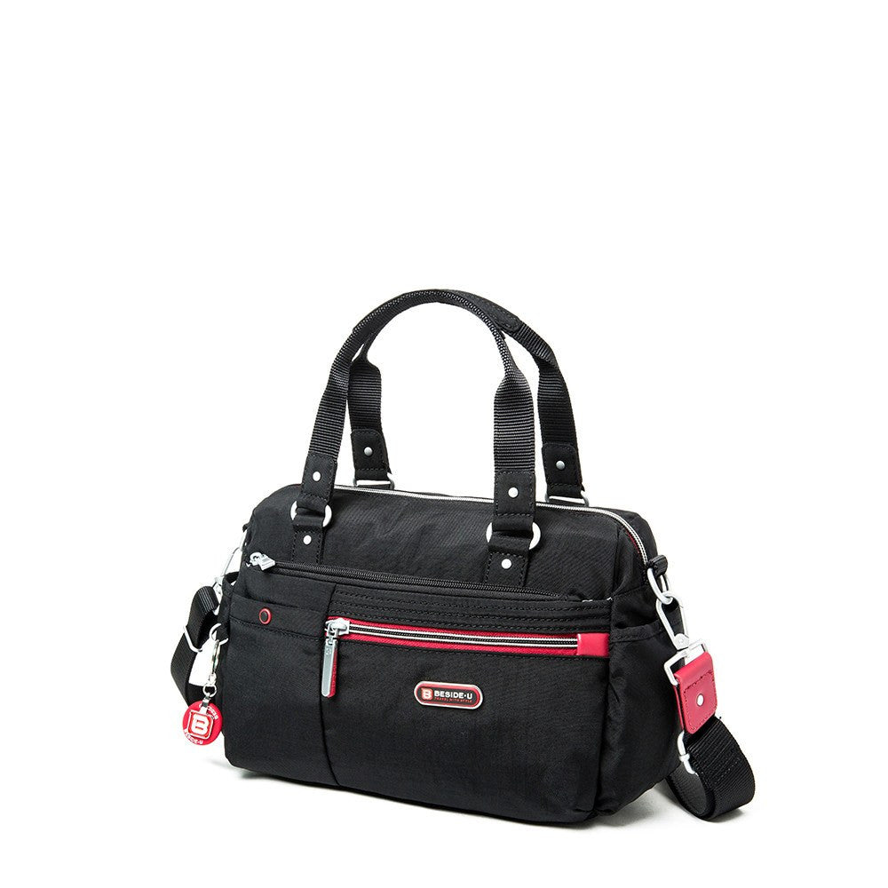 Satchel Handbag - Dijon Two-Tone Small Convertible Satchel Handbag Angled [Black And Dark Red]