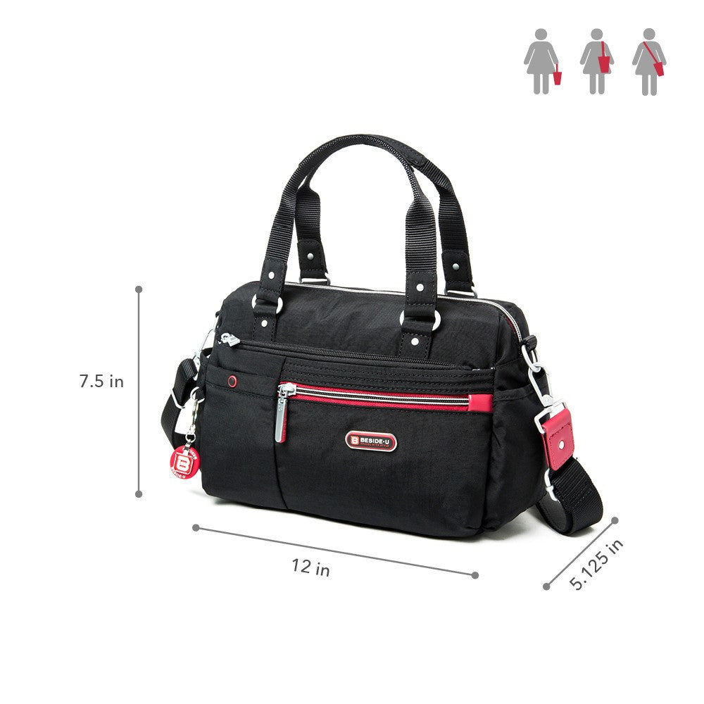 Satchel Handbag - Dijon Two-Tone Small Convertible Satchel Handbag Size [Black And Dark Red]