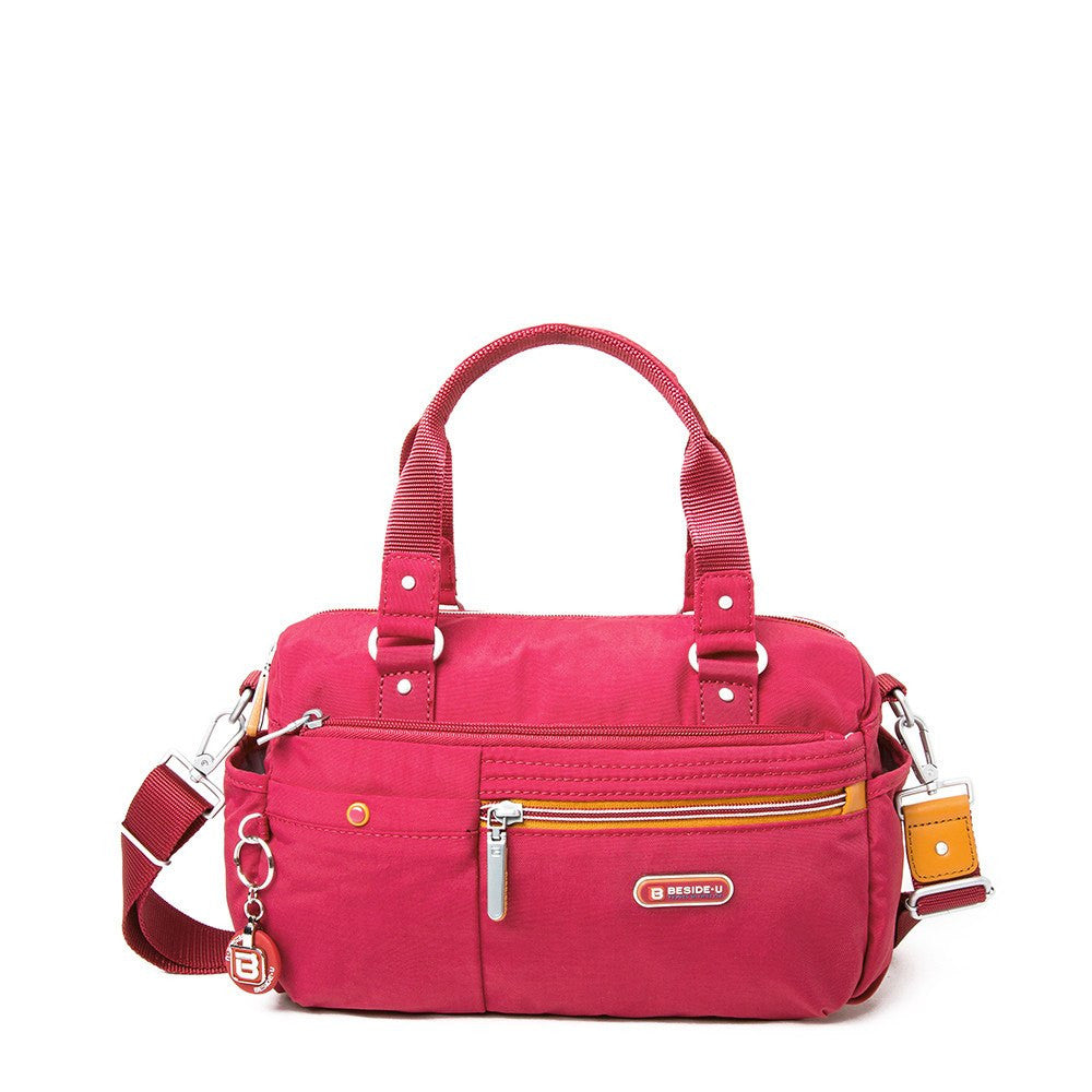 Satchel Handbag - Dijon Two-Tone Small Convertible Satchel Handbag Front [Heart Red]