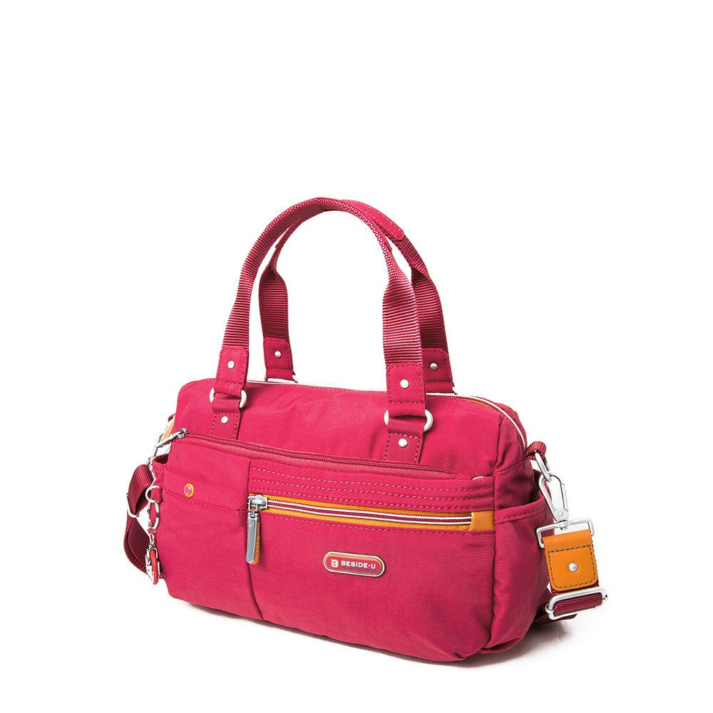 Satchel Handbag - Dijon Two-Tone Small Convertible Satchel Handbag Angled [Heart Red]