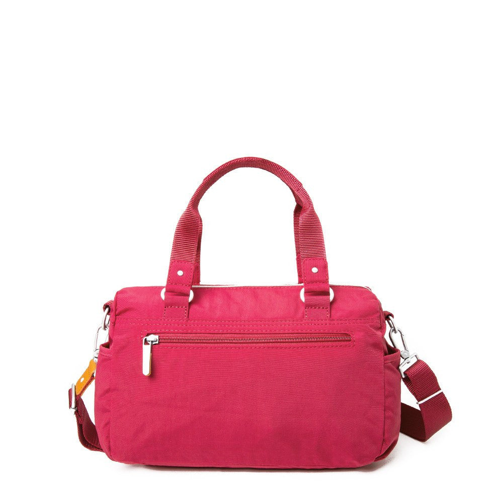 Satchel Handbag - Dijon Two-Tone Small Convertible Satchel Handbag Back [Heart Red]