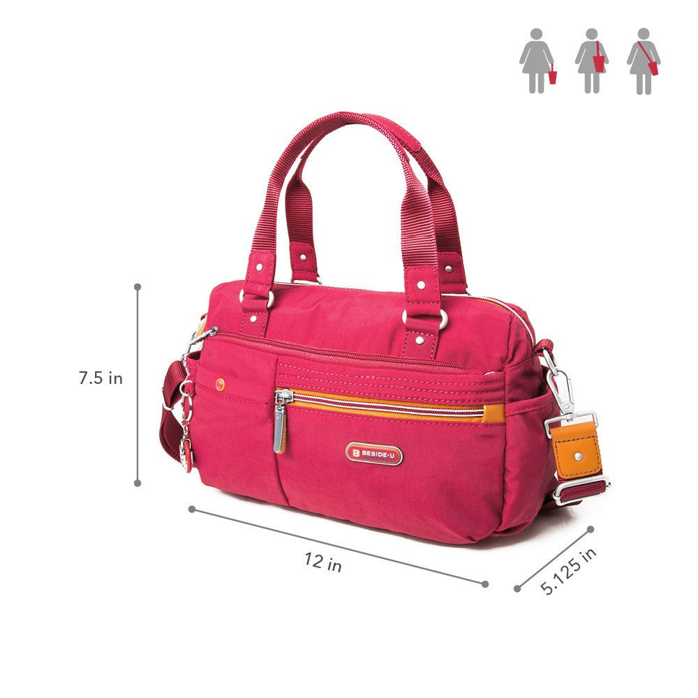 Satchel Handbag - Dijon Two-Tone Small Convertible Satchel Handbag Size [Heart Red]