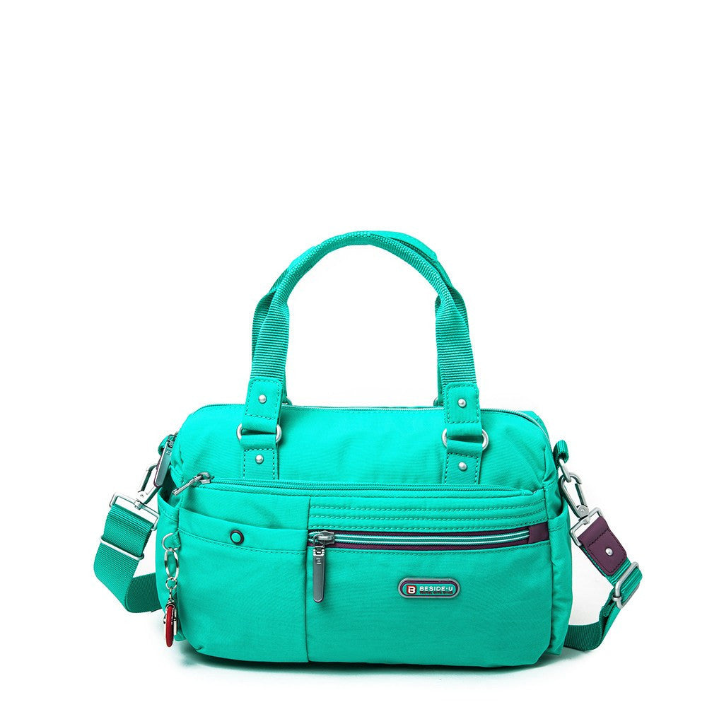 Satchel Handbag - Dijon Two-Tone Small Convertible Satchel Handbag Front [Atlantis Teal Blue]
