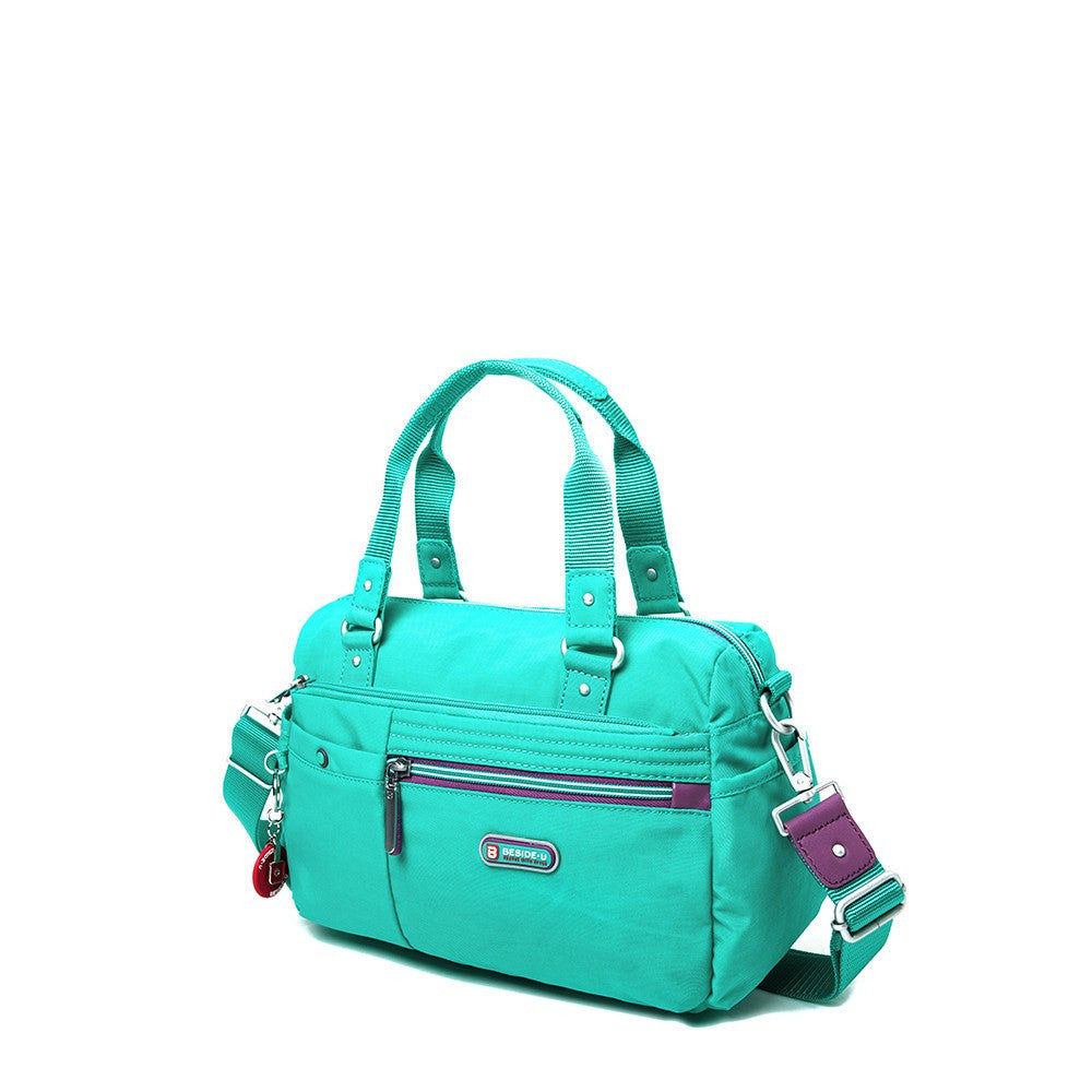 Satchel Handbag - Dijon Two-Tone Small Convertible Satchel Handbag Angled [Atlantis Teal Blue]