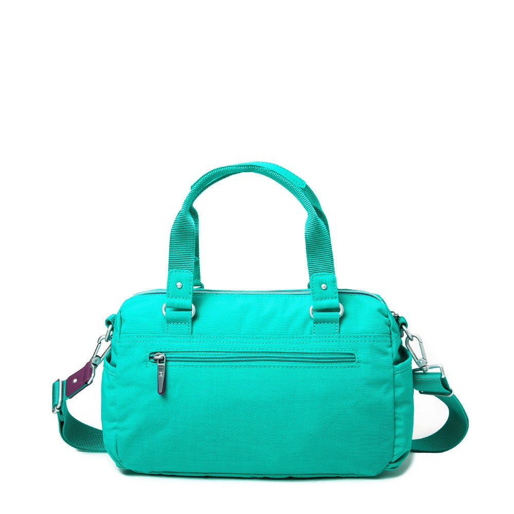 Satchel Handbag - Dijon Two-Tone Small Convertible Satchel Handbag Back [Atlantis Teal Blue]