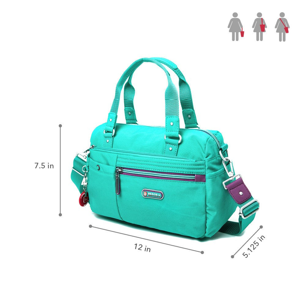 Satchel Handbag - Dijon Two-Tone Small Convertible Satchel Handbag Size [Atlantis Teal Blue]