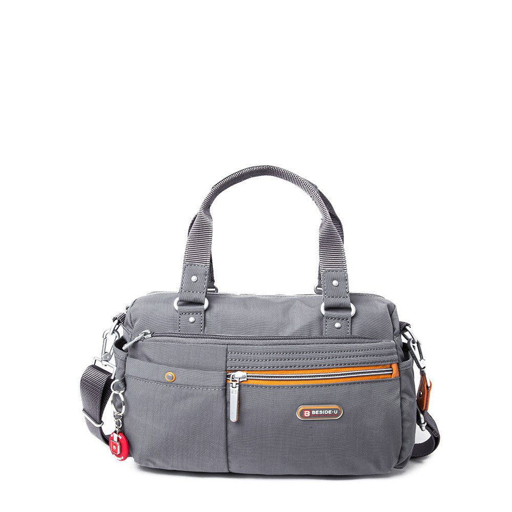 Satchel Handbag - Dijon Two-Tone Small Convertible Satchel Handbag Front [Castlerock Grey]