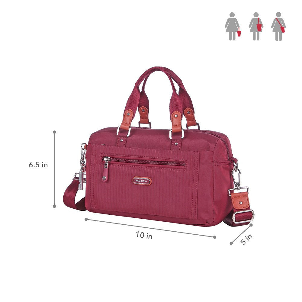 Satchel Handbag - Ginny Leather Trimmed Convertible Satchel Handbag Size [Tawny Port]