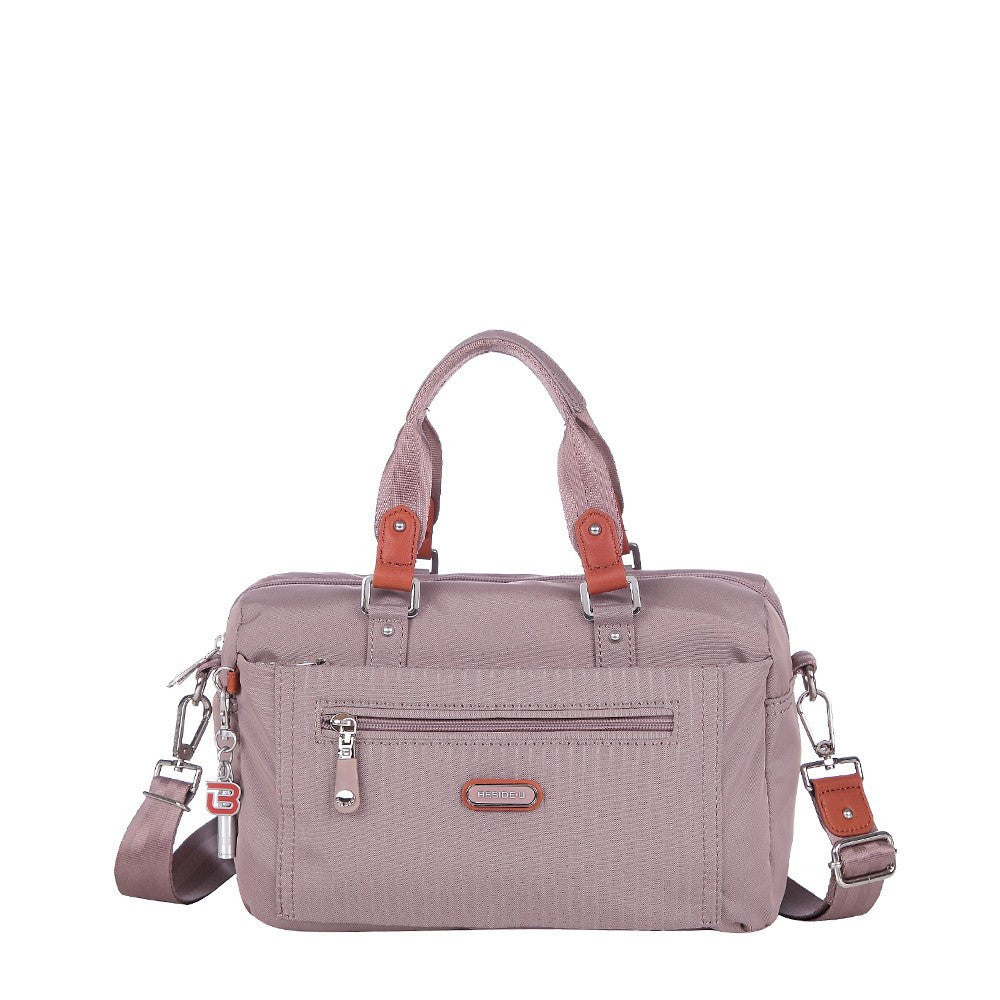 Satchel Handbag - Ginny Leather Trimmed Convertible Satchel Handbag Front [Rose Dawn]