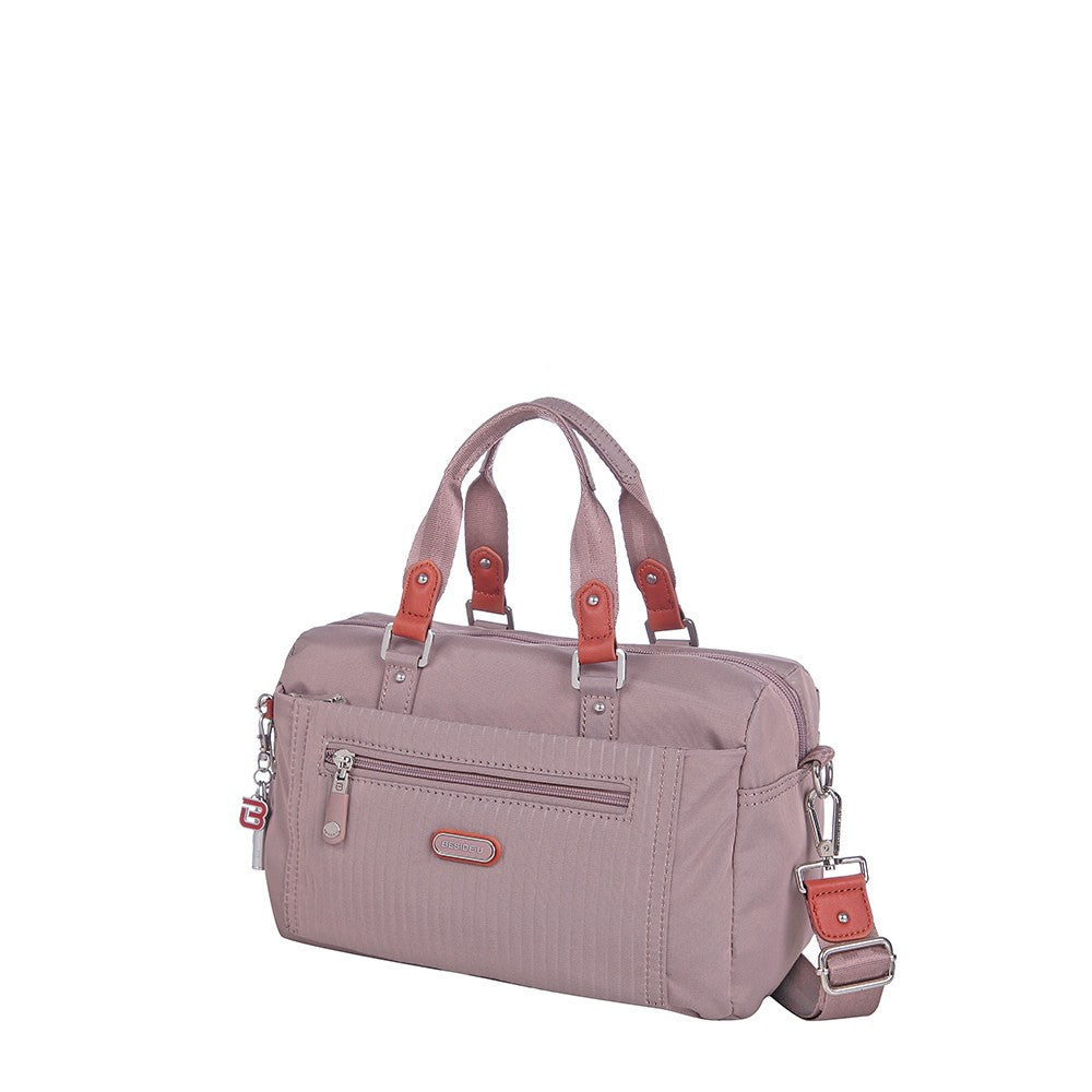 Satchel Handbag - Ginny Leather Trimmed Convertible Satchel Handbag Angled [Rose Dawn]