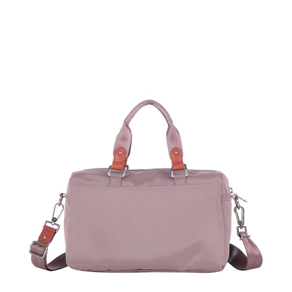 Satchel Handbag - Ginny Leather Trimmed Convertible Satchel Handbag Back [Rose Dawn]