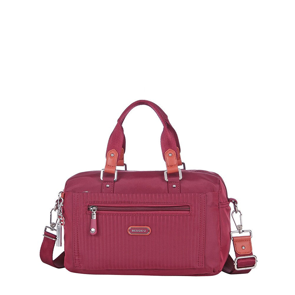 Satchel Handbag - Ginny Leather Trimmed Convertible Satchel Handbag Front [Tawny Port]