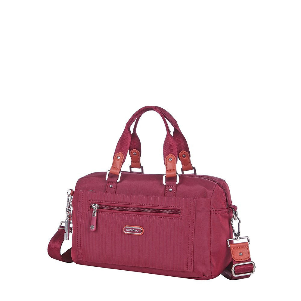 Satchel Handbag - Ginny Leather Trimmed Convertible Satchel Handbag Angled [Tawny Port]